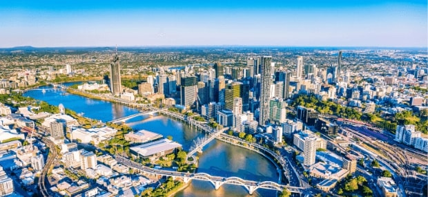 Bird's eye view on Brisbane in Queensland. The popular study city for international students in Australia studying at universities and colleges.