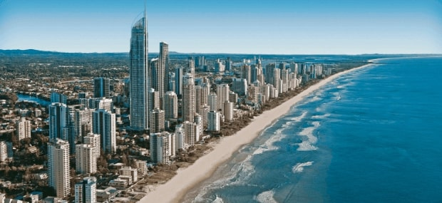 Gold Coast international student city skyline in Queensland Australia