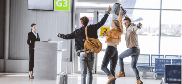 International students are waiting for departure at the airport for studying in Australia.