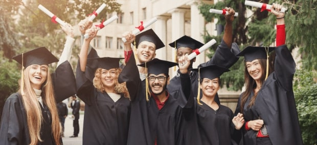 Graduates are waving their hands with a diploma after receiving a scholarship at an Australian university.