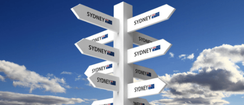 A sign is showing international students where to study in Australia with all city options.